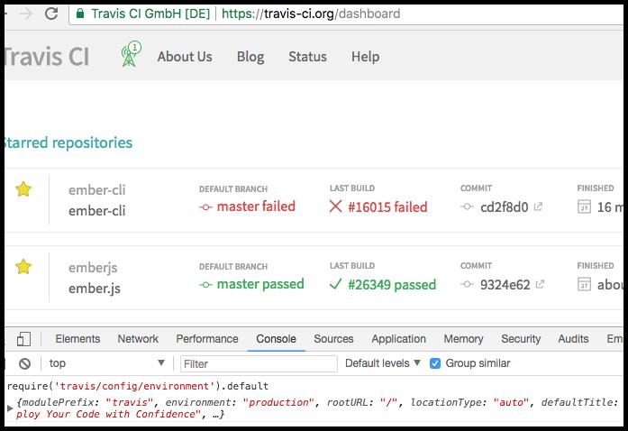 screenshot of travis-web